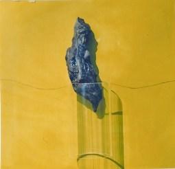 arch.n. 544 Rinascita 49 Legno scolpito e dipinto, tavola affrescata, plexiglass, vetro,cm 42x40 - anno 2003
