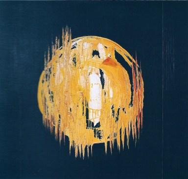 arch.n. 682 Brandelli 50 Affresco su tavola + fili nylon, cm 110x100 - anno 2004