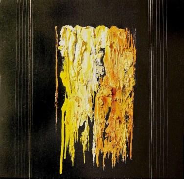 arch.n. 677 Brandelli 58 Affresco su tavola + fili nylon, cm42x42 - anno 2004