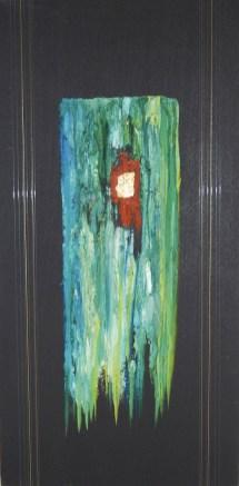 arch.n. 697 Brandelli 35 Affresco su tavola + fili nylon, cm 42x85 - anno 2004