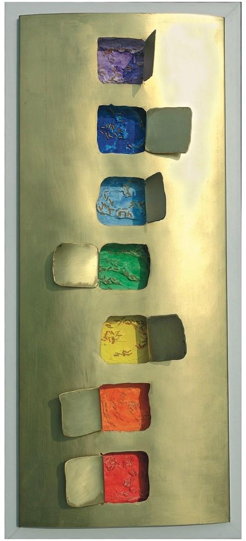arch.n. 780 Colori 11 legno + bronzo + mosaico - cm 33 x 8 x h75 – anno 2005
