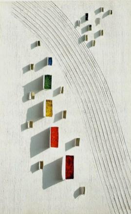 arch.n. 788 Colori 6 Affresco su tela + mosaico a perline su seconda tela, cm 53x82 - anno 2005