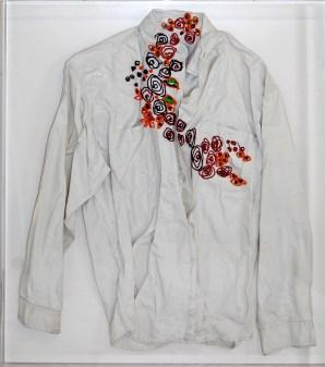Smateria Florens2 arch.n. 955 vestito resinato e smaltato + colori ad olio + teka, cm 61x71, 2010-2012