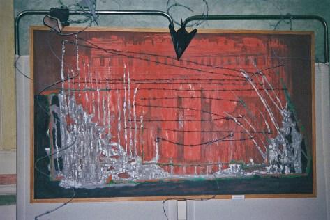 arch.n. 376 Senza titolo Affresco su tavola + reticolato cm 150x100 - anno 2001