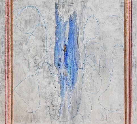 arch.n. 664 Brandelli Affresco su tavola + fili cotone, cm 100x110 - anno 2004