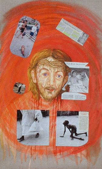 arch.n. 370 La nostra umanità Affresco su tela + collage foto, cm 60x100- anno 2001