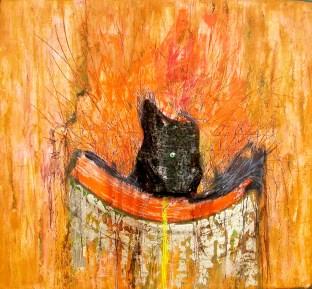 arch.n. 626 La voce della passione 72 Affresco ad encausto su tavola, cm 100x102 – anno 2003