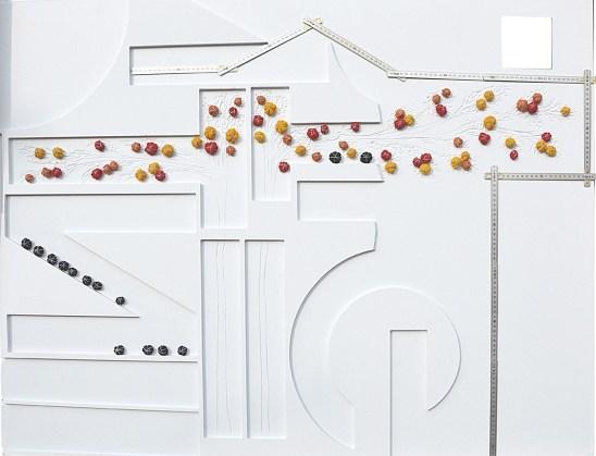 arch. n. 1.167 La misura cm 126x97, collage di PVC, incisione, tessuto, ferro zincato, anno 2015