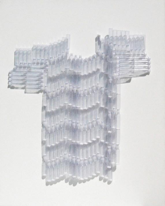 Metamateria6 , fialette in plastica con terra bianco di zinco 2011– cm 80 x h 100arch. n. 1026