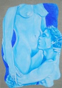 arch.n.135 sensualità, affresco su tela, cm 50x70, anno 2001