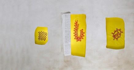 arch.n. 799 Luce gialla Affresco su tela + ricamo a perline su seconda tela,cm 133x90 – anno 2004