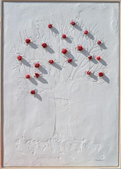 Ach. n. 1466 Albero del Giardino dai buoni frutti – affresco + tessuti compattati – cm 103x73, anno 2017