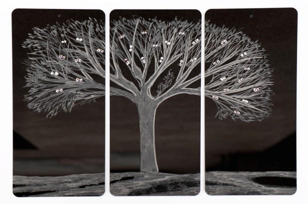Arch. n. 1.523 Attesa della Luce-Incisione su plexiglas + pittura e perline vetro, cm 26x12 cadauna, 2018