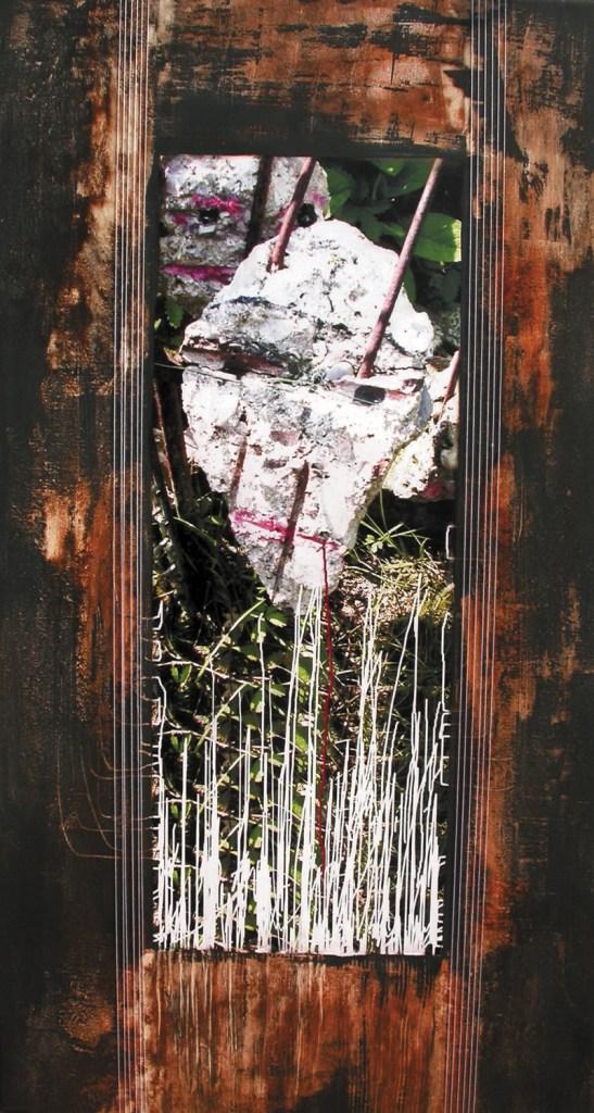 arch.n. 727 Destino comune rielaborazione digitale + pittura ad olio su tela cm 87x160, anno 2004
