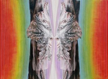 arch.n. 729 Interazione - Vedersi rielaborazione digitale + pittura ad olio su tela, cm 87x76, anno 2004