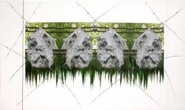 arch.n. 723 Interazione-Uomini rielaborazione digitale + pittura ad olio su tela cm 87x147, anno 2004