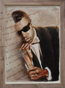 arch.n. 238 Stevie Wonder affresco su tela, cm 60x80 - anno 2007