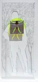 Intima tensione Plexiglass da 1 cm inciso natura + plexiglass fluoro sagomato rotondo + alluminio da lastra quadrata lavorato a rilievo e a vuoti - cm 83x205x1.5, anno 2016. numero d archivio 1.348