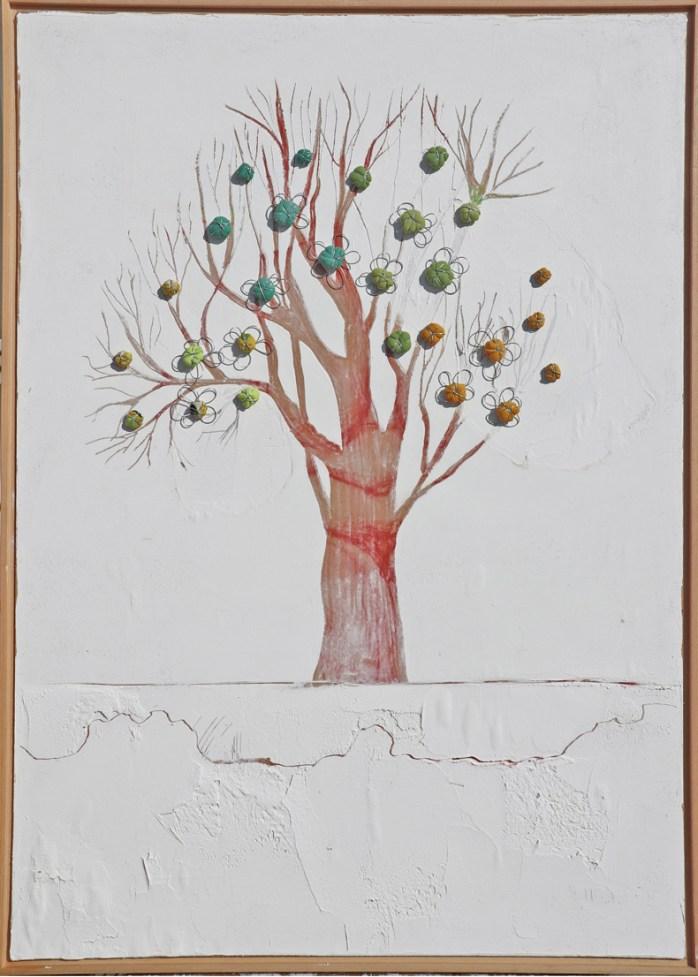 Arch. n. 1.538 Albero dai buoni frutti tecnica mista su tavola+ tessuti compattati e resinati, cm 106x73, 2018