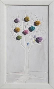Arch. n. 1.544 cm 38x22 Albero dai buoni frutti- affresco su tavola+ tessuti compattati e resinati, 2018