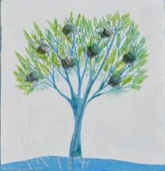 Ach. n. 1.489 Albero del Giardino dai buoni frutti – affresco su tavola + tessuti compattati – cm 42x40, 2017
