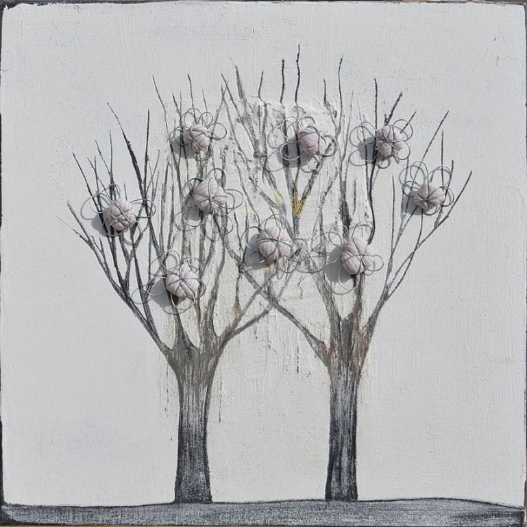 Ach. n. 1.490 Albero del Giardino dai buoni frutti – affresco su tavola + tessuti compattati – cm 42x42, 2017