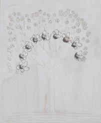 Arch. n. 1.539 Albero dai buoni frutti- affresco su tavola+ tessuti compattati e resinati, cm 59x48, 2018