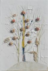 Ach. n. 1.494 Albero del Giardino dai buoni frutti – affresco su tavola + tessuti compattati – cm 61x41, 2017