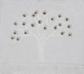 Arch. n. 1.541 Albero dai buoni frutti- affresco su tela+ tessuti compattati e resinati, cm 70x80, 2018