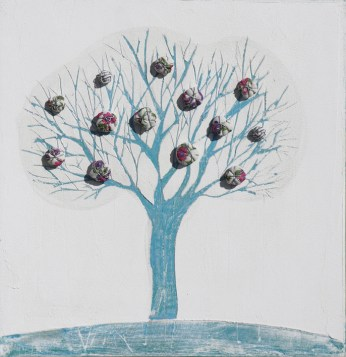 Arch. n. 1.549 cm 42x40 Albero dai buoni frutti - affresco su tavola+ tessuti compattati e resinati, 2018