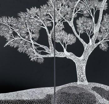 Arch. n. 1.706 La foresta nel mare, incisione su alluminio + vestiti usati compattati con filo ferro zincato e resina, cm 100x100 - 2019 Info: +39 3480302605