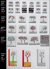 """La foresta nel mare (le prime 5 file), misure diverse: incisione su alluminio + """"frutti"""" sono creati con vestiti usati compattati con filo di acciaio inox e resina. Avvitati dal retro. cm 9x9 = € 15 cm 10x10 = € 15 cm 15x15 = € 25 cm 16,7x16,7 = € 30 cm 23x18,5 = € 40 I buoni frutti (ultima fila) arch. n. 1846- cm 35 x 17 – collage di PVC da riciclo + pittura a smalto+ frutti creati con vesti usati compattati con filo di acciaio inox e resina. Avvitati dal retro. € 35"""