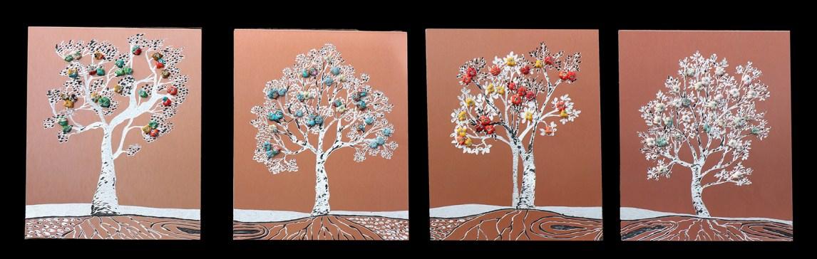 i Buoni frutti - archivio n. 1901- Serie di 4 quadri, ogni uno misura cm 36,5x29,5. Anno 2020 Incisione su rame-alluminio da riciclo.