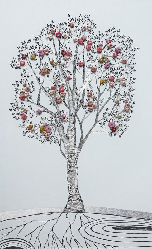 I buoni frutti, archivio n. 1903, cm 81x51, 2020 Incisione su alluminio + frutti creati con vestiti usati compattati. concept: il nostro vissuto è memoria, quindi ricchezza da trasmettere per un futuro migliore.