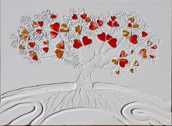 Alberodell'amore- archivio n. 1933- cm 63x87- 2020incisione su PVC, concept: solo l'amore ci rende migliori. Opera in promozione natalizia= euro 150