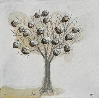 Albero dai buoni frutti, archivio n. 1391, cm 30x30, 2016 Affresco