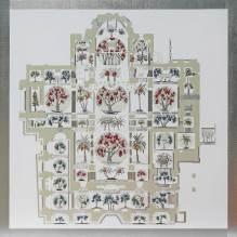 Giardino onirico- San Marco (VE)- archivio n. 2011, cm 150x150-anno 2021. Stampa + incisione + vestiti usati su dibond-alluminio