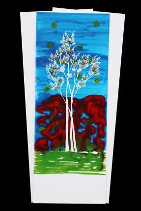 I buoni frutti, archivio n. 2031, cm 70x37, anno 2021 Pittura a smalto e incisione su PVC + vestiti usati compattati con acciaio inox e resina