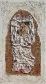 La fine dell'amore, archivio n. 820. vestito del matrimonio, resina, oro, tela, tavola. cm 100x150-anno 2007