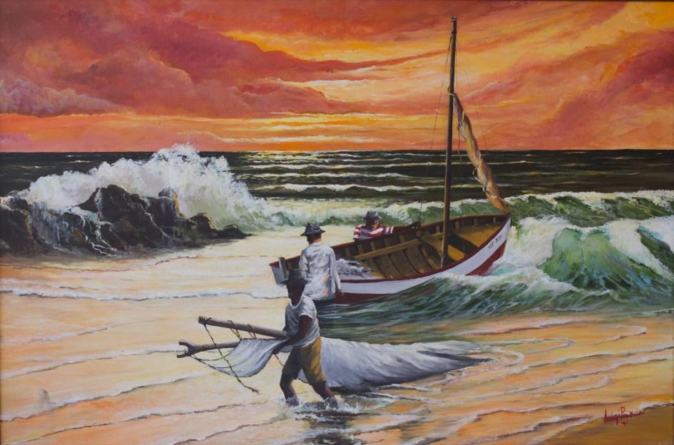 Fishermen at work at sunset