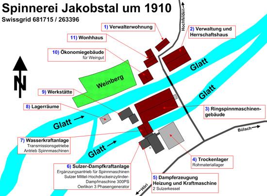 Spinnerei Jakobstal Übersicht um 1900