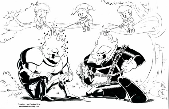 Atomic Skull versus Ghost Rider Drawing