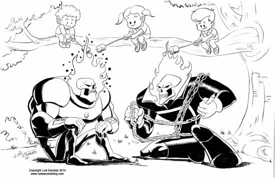 Atomic Skull versus Ghost Rider Drawing