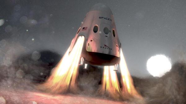 Uma cápsula Dragon desce na superfície de Marte (concepção de artista).