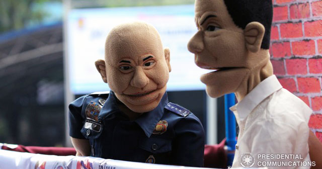 Dela Rosa and Duterte puppets