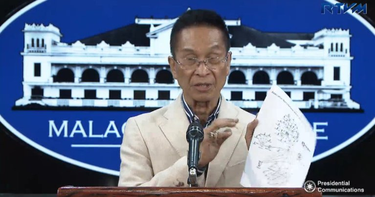 This screenshot from a video posted by the Presidential Communications (Government of the Philippines) Facebook Page shows Presidential Spokesperson Salvador Panelo holding a piece of paper with names of journalists and lawyers the Palace claims are part of an alleged plot to oust President Rodrigo Duterte.