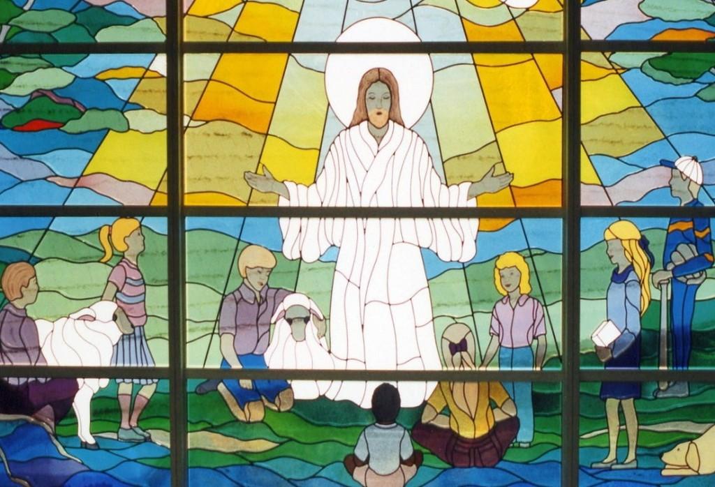 stained-glass-window-Jesus-children