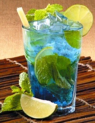 Blue Mojito: A Tropical Twist On A Classic Cocktail – Blue Curacao; Light Rum; Mint Leaves; Club Soda