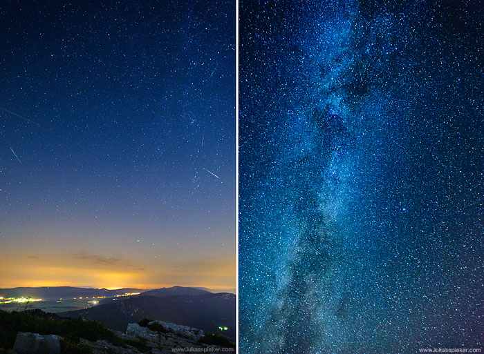 Multiple exposures of the night sky are stacked to illustrate the appearance of shooting stars. These meteor showers are called Perseids because they appear to come from the constellation Perseus.