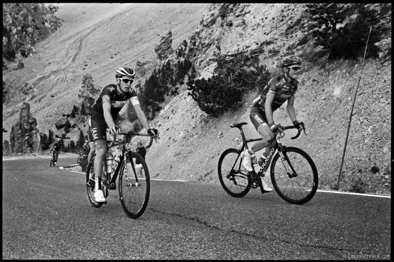 Riders of the Tour de France pass the Col d'Izoard during stage 14, July 19, 2014.